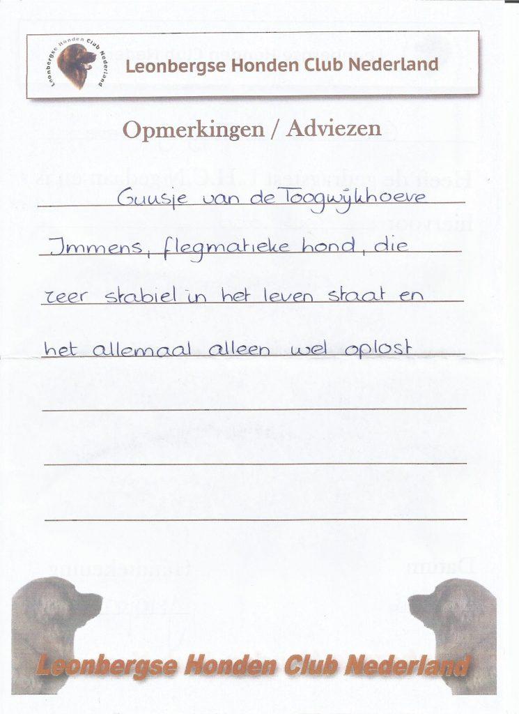Gedragtest Guusje van de Toogwijkhoeve.